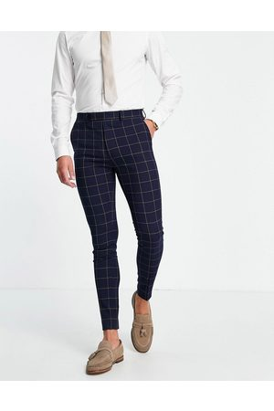 ASOS Super skinny suit trousers with window check in navy