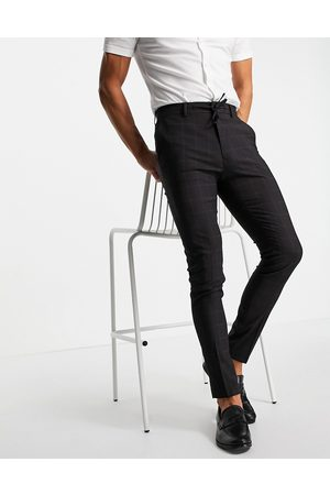 ASOS DESIGN Smart trousers co-ord with windowpane check in navy