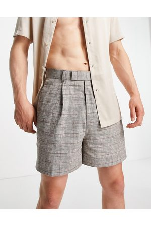ASOS Cropped bermuda smart shorts in linen check