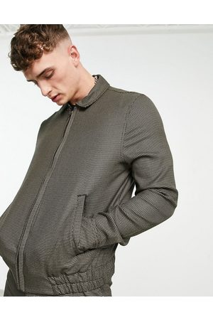 ASOS Men Sets - Smart harrington jacket co-ord with micro check in