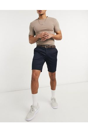 River Island Slim belted chino shorts in navy