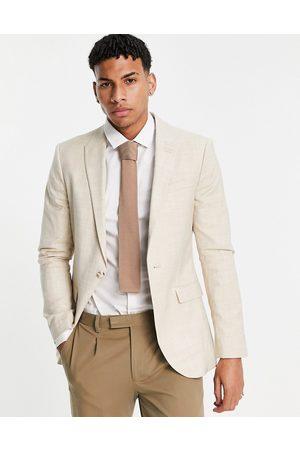 Topman Skinny single breasted suit jacket in stone-Neutral