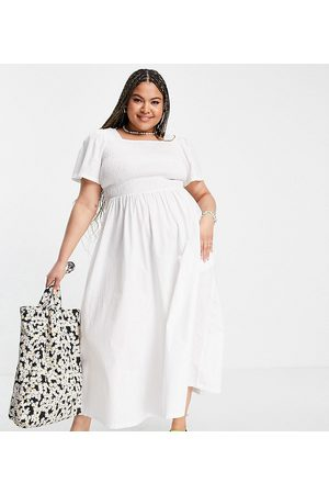 Pieces Plus Pieces Curve organic cotton shirred maxi dress in