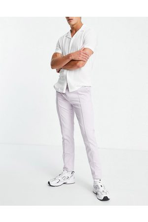 ASOS Slim chinos with elasticated waist and pin tuck in lilac