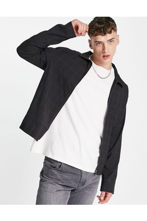 ASOS DESIGN Co-ord smart track jacket with windowpane check in navy