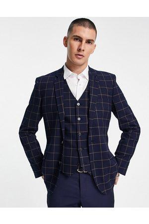 ASOS Men Blazers - Wedding super skinny suit jacket with window check in navy