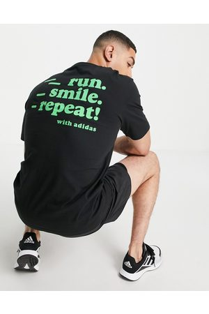 adidas performance Adidas Running t-shirt with run smile repeat back print in