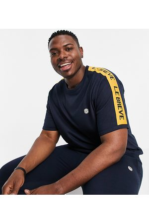 Le Breve Plus lounge co-ord t-shirt in navy with yellow tape
