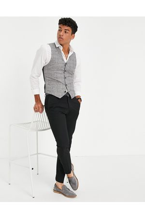 ASOS Men Waistcoats - Super skinny waistcoat with prince of wales linen check in navy
