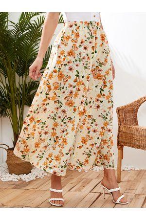 YOINS Women Printed Skirts - Floral Print Maxi Skirt