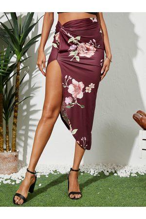 YOINS Women Printed Skirts - Floral Print Twist Slit Hem Midi Skirt