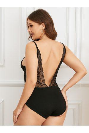 YOINS Plus Size Spaghetti Lace Patchwork Design Sleeveless Bodysuit