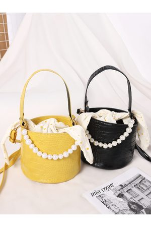 YOINS Croc Embossed Pattern Faux Pearl Chain Tie-up Design Crossbody Bag