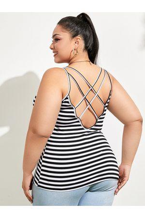 YOINS Plus Size Spaghetti Striped Criss-Cross Sleeveless Cami