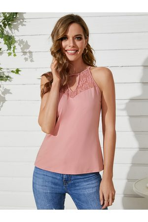 YOINS Lace Insert Design Cut Out Halter Sleeves Cami