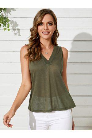 YOINS Women Tank Tops - Casual V-neck Sleeveless Tank Top