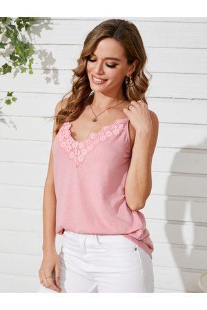 YOINS Lace Trim Design V-neck Sleeves Cami