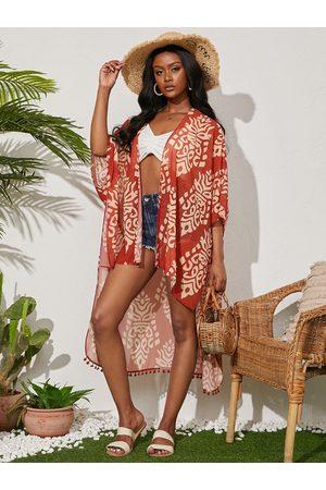 YOINS Tribal Print Asymmetrical Hem Half Sleeves Kimono