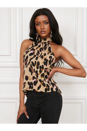 YOINS Leopard Halter Sleeveless Cami