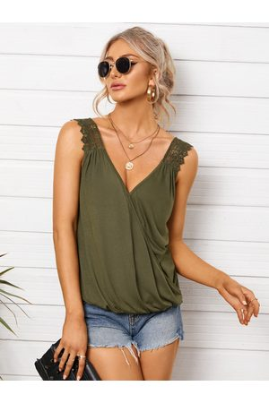 YOINS Crossed Front Design Lace Straps V-neck Sleeveless Tank Top