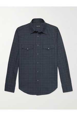 Tom Ford Men Casual - Slim-Fit Checked Cotton Western Shirt