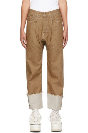 R13 Brown Pleated Drop Jeans