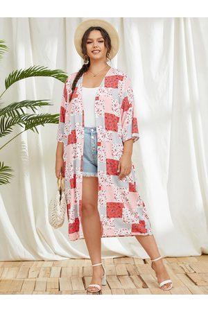 YOINS Plus Size Scarf Print 3/4 Length Sleeves Kimono