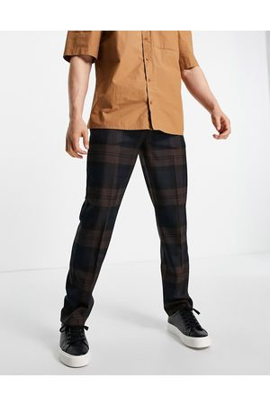 River Island Checked trousers in brown and navy