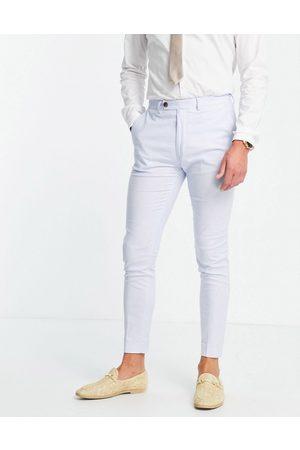 ASOS DESIGN Wedding super skinny suit trousers in pastel cotton linen