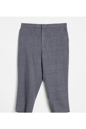 ASOS DESIGN Men Chinos - Plus tapered crop smart trousers with half elasticated waist in charcoal texture