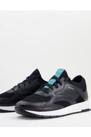HUGO BOSS Titanium Runn leather trainers with lightweight sole in