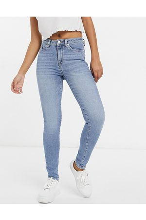 Selected Femme Sophia organic cotton blend skinny jeans in mid wash