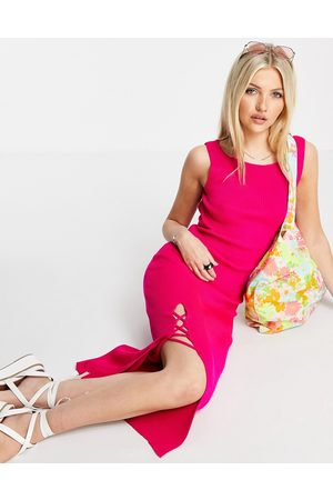 Miss Selfridge Knitted maxi dress low back and lattice detail in bright