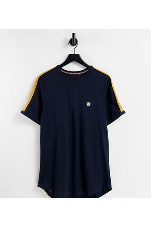Le Breve Men Sets - Tall lounge co-ord t-shirt in navy with yellow tape