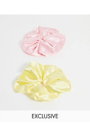 Reclaimed Vintage Inspired scrunchie 2 pack in yellow and pink satin-Multi