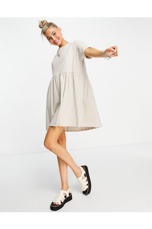 Noisy May Women Casual Dresses - Organic cotton smock t-shirt dress in stone-Neutral