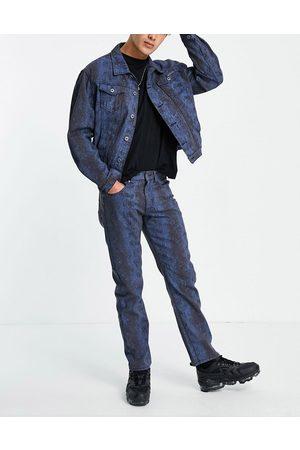 Liquor N Poker Snake print straight leg jeans co-ord in blue