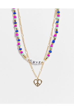 Liars & Lovers Peace and love multi row beaded necklace in