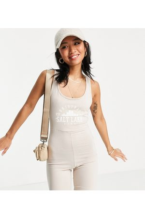 Noisy May Exclusive collegiate unitard playsuit in stone