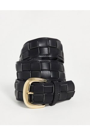 Pieces Woven belt with gold buckle in