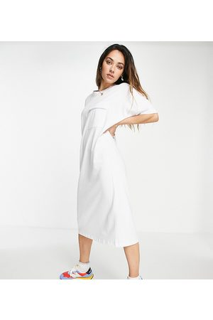 Noisy May Exclusive organic cotton midi t-shirt dress with pocket detail in