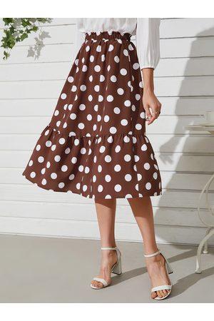 YOINS Women Midi Skirts - Polka Dot Ruffle Hem Midi Skirt