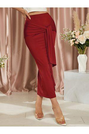 YOINS Women Maxi Skirts - Tie-up Design High Waist Bodycon Maxi Skirt