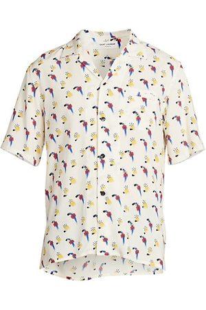 Saint Laurent Abstract Print Shark Collar Shirt