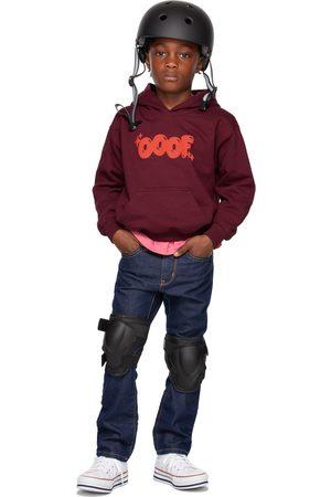 OOOF SSENSE Exclusive Kids Burgundy Puff Logo Hoodie