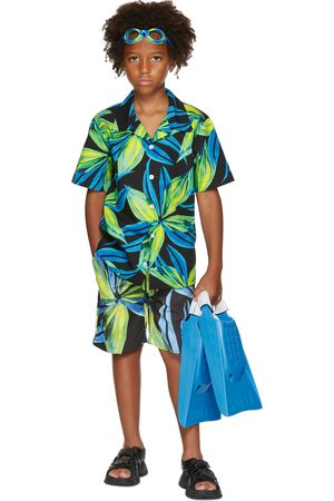 Louisa Ballou SSENSE Exclusive Kids Blue & Green Graphic Short Sleeve Shirt