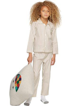 Tekla Kids SSENSE Exclusive Kids White & Brown Striped Sleepwear Set