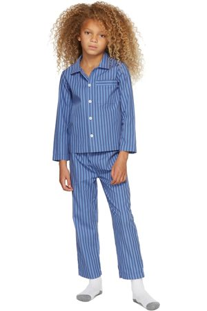 Tekla Kids SSENSE Exclusive Kids Blue & Black Striped Sleepwear Set