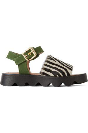 Marni Kids Black & White Zebra Fringe Sandals