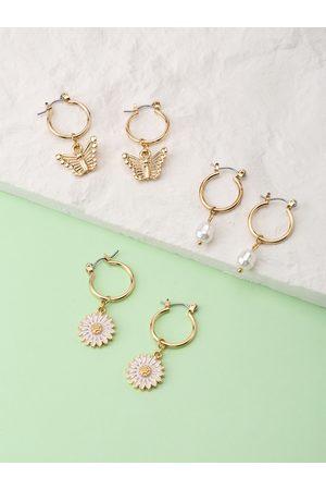 YOINS 1 Set Butterfly Flower Pearl Alloy Earrings